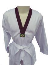 Dobok Taekwondo Adulto Tam. A2 Cor Branca Gola Preta em Brim pesado - Glulan Kimono