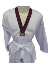 Dobok Taekwondo Adulto Tam. A3 Cor Branca Gola Preta em Brim pesado - Glulan kimono