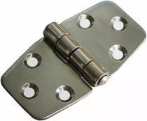 Dobradiça em Aço Inox 6 Furos 3x3 Tamanho 75mm x 37mm para Barcos e Náutica - Pni