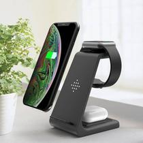 Dock Stand Carregador indução Wireless compatível com AppleWatch AirPods Pro e iPhone - Baú Do Viking