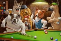 Dog's: Bilhar - Arthur Sarnoff - 60x88 - Tela Canvas Para Quadro - Santhatela
