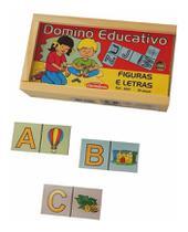 Domino Educativo Figuras E Letras Jogo Educativo Pedagogico Carimbras -