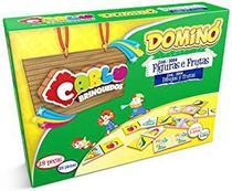 Domino figuras e frutas-28pc-cx.papel - Carlu Brinquedos