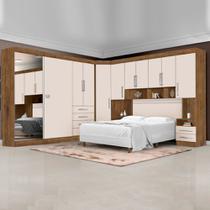 Dormitório Completo Georgia J&A Jequitibá / Off White Para Cama Box 1,38m Casal - Ja Móveis