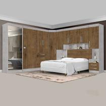 Dormitório Completo Georgia JA Avelã / Jequitibá Para Cama Box 1,38M Casal - Ja Móveis