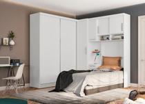 Dormitório de Solteiro Labrador sem Espelho Branco Madeirado - Robel -