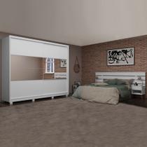 Dormitório Guarda Roupas Casal Apolo com Cabeceira Roma 1,40m/1,60m/1,95m Gelius Branco -