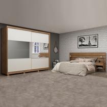 Dormitório Guarda Roupas Casal Apolo com Cabeceira Roma 1,40m/1,60m/1,95m Gelius Madeirado / Madeirado / Off White -