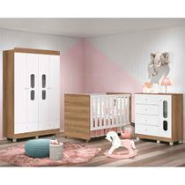 Dormitório Katatau Com Guarda Roupa 4 Portas + Cômoda + Berço  -Branco/Menzzo - Reller -
