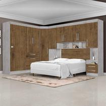 Dormitório Modulado Georgia JA Avelã / Jequitibá Para Cama Box 1,38M Casal - Ja Móveis