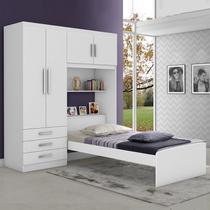 Dormitório Solteiro JA Cancún Branco ou Branco/Lilas - Ja Móveis
