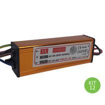 Drive Reator 50w Para Reposição De Refletor Led Bivolt Kit 12 - Brilhante
