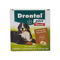 Drontal Plus Carne Cães 35kg 2 comp Bayer vermífugo oral -
