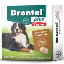 Drontal Plus Carne Cães 35kg 2 comprimidos Bayer vermífugo cães -