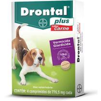 Drontal Plus Vermicida Cães 10kg Sabor Carne c/ 4 Comprimidos 776,5mg - Bayer