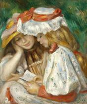 Duas Meninas Lendo - Pierre-Auguste Renoir - 75x90 - Tela Canvas Para Quadro - Santhatela