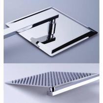 Ducha Inox 15cm Quadrada Square Chuveiro Slim 15x15 Com Braço - Brasil