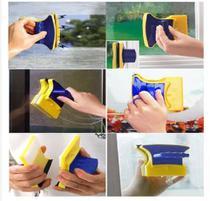Duplo Limpador Rodo Esponja Limpa Vidro Magnético para Janela Box Aquário Limpa Vidro Com Imã Magnético -
