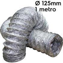 Duto flexível aluminizado 125mm com 1 metro - Sicflux