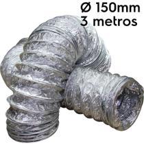 Duto flexível aluminizado 150mm com 3 metros - Sicflux