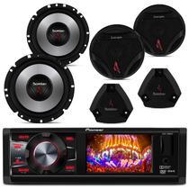 DVD Pioneer DVH-7880AV 1 Din + Par Alto Falante 6 Polegadas + Tweeter + Mid Bass Bomber - Kit Som e Vídeo