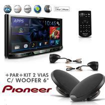 Dvd Player 2-Din AVH-X5780TV Tv Digital Bluetooth Usb Mixtrax + Kit 2 Vias Woofer 6'' - Pioneer