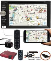 DVD Player 2 DIN E-Tech + Câmera Ré + Receptor TV Digital -