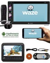 """DVD Player 2 DIN E-Tech Universal Tela 6,2"""" + Encosto Cabeça Sobrepor + Câmera Ré -"""