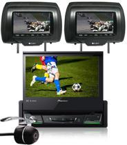 DVD Player Automotivo Retrátil Pioneer AVH-Z7280TV 7 Polegadas TV Digital Bluetooth USB + 2 Encosto Cabeça + Câmera Ré -
