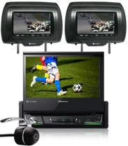 DVD Player Automotivo Retrátil Pioneer AVH-Z7280TV 7 Polegadas TV Digital Bluetooth USB + 2 Encosto Cabeça + Câmera Ré -