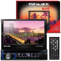 DVD Player Automotivo Shutt Califórnia 7 Pol HD Retrátil USB SD AUX MP3 MP4 FM Entrada Câmera de Ré