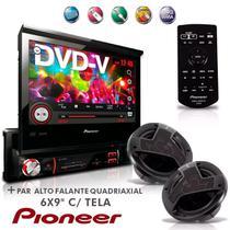 """Dvd Player Avh-3880Dvd 7"""" 1Din Usb Am Fm Retrátil  + Alto Falante Quadriaxial 6x9'' Com Tela Pioneer -"""