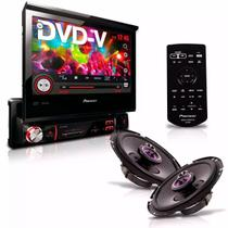 "Dvd Player Avh-3880Dvd 7"" 1Din Usb Am Fm Retrátil + Alto Falante Triaxial 6'' Sem Tela Pioneer -"