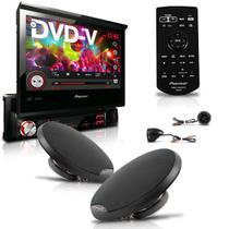 "Dvd Player Avh-3880Dvd 7"" 1Din Usb Am Fm Retrátil + Kit 2 Vias Com Woofer 6'' - Pioneer"