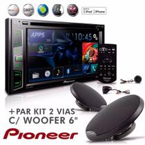 "Dvd Player Mixtrax 2 Din AVH X2780BT 6,2""  Usb Bluetooth + Kit 2 Vias Com Woofer 6'' - Pioneer"