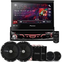 "DVD Player Pioneer AVH-3880 1 Din + Kit 2 Vias Pioneer 6"" + 2 Tweeters + 2 Crossovers 120W RMS - Prime"