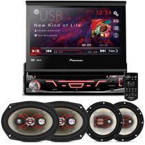 """DVD Player Pioneer AVH-3880 1 Din + Kit Fácil Alto Falantes Bravox 6"""" e 6x9"""" 240W RMS - Prime"""