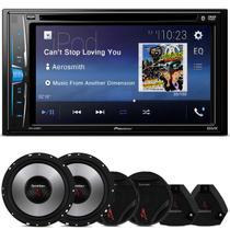 """DVD Player Pioneer AVH-A208BT 2 Din 6.2"""" + Kit 2 Vias Bomber Upgrade 6"""" 400W RMS - Kit Som e Vídeo"""