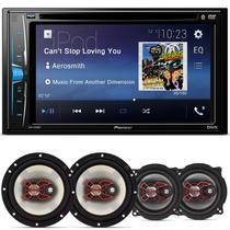 """DVD Player Pioneer AVH-A208BT 2 Din 6.2"""" + Par Alto Falantes Bravox 6"""" e 5"""" 200W RMS - Kit Som E Vídeo"""
