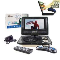 Dvd Player Portátil Kp-d114 Knup Tela de 7 Polegadas Giratória com Rádio Fm Usb Jogos Infantil -
