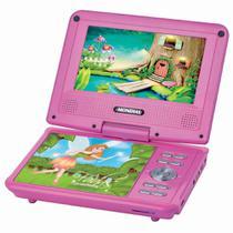 Dvd Player Portatil Mondial Eletronic Fadas D-12 Tela 7 Polegadas Giratoria Rosa Bivolt -