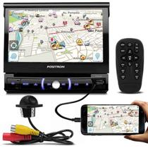 DVD Player Pósitron SP6330BT 7'' Retrátil Bluetooth Espelhamento USB AUX SD + Câmera De Ré Tartaruga - Kit som e vídeo