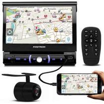 DVD Player Pósitron SP6330BT 7'' Retrátil Bluetooth Espelhamento USB SD + Câmera de Ré Visão Noturna - Positron