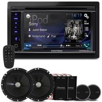 "DVD Player Pósitron SP8520 BT 2 Din 6.2"" + Kit 2 Vias Pioneer TS-C170BR 6"" 120W RMS - Prime"