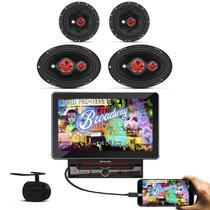 DVD Player Shutt Broadway 2 Din 10.1 Polegadas HD Espelhamento MP3 USB SD + Kit Facíl Bomber -