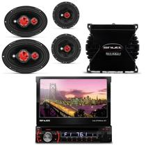 DVD Player Shutt Califórnia BT Bluetooth Retrátil + Kit Fácil Bomber + Módulo Amplificador SH 400.4 - Prime