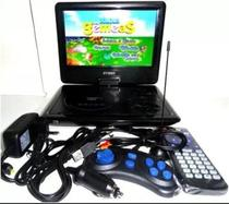 Dvd Portatil Tv Tela 9.8 Lcd Gira 270º Sd Usb Fm com cd Jogos + controle video game