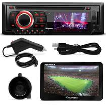 DVD Quatro Rodas MTC6616 1 Din 3 Pol Bluetooth USB Controle + GPS Discovery Channel 7.0 TV Outlet