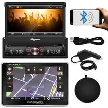 DVD Quatro Rodas MTC6617 1 Din 7 Pol Retrátil Bluetooth USB + GPS Discovery Channel 5.0 TV Outlet
