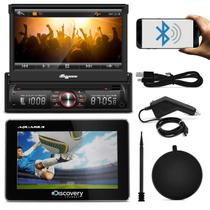 DVD Quatro Rodas MTC6617 1 Din 7 Pol Retrátil BT USB + GPS Discovery Channel 4.3 TV Preto Outlet